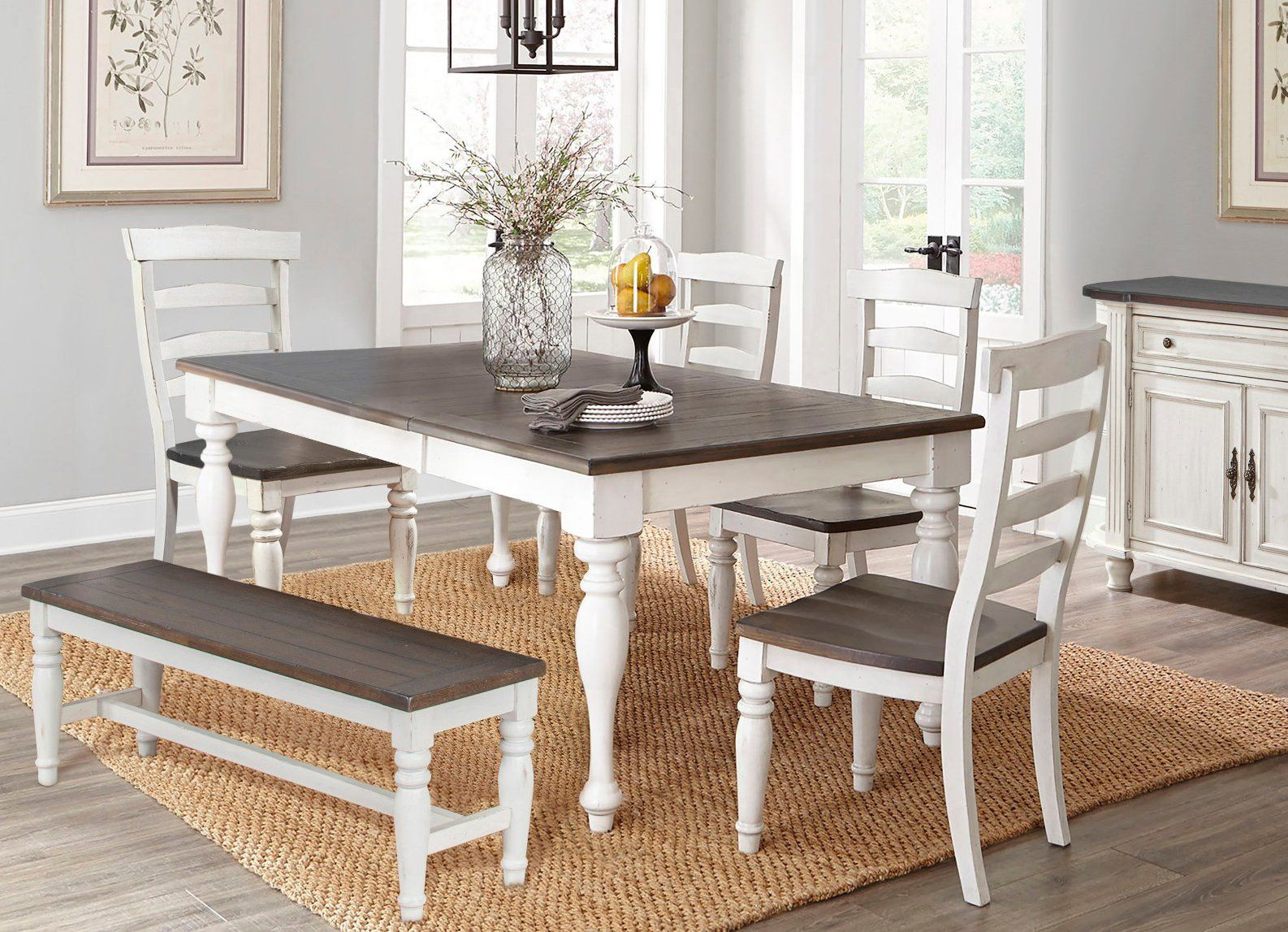 French Country White Two Tone 6 Piece Dining Set Bourbon County