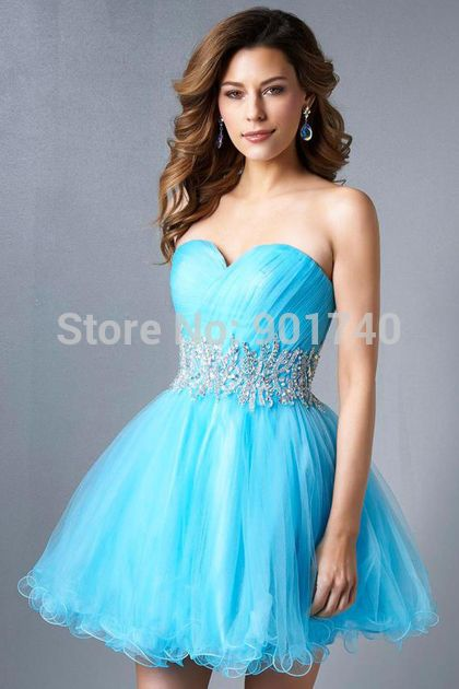Light Blue Short Prom Dress Organza Gowns for Party 2015 vestido formatura(China (Mainland))