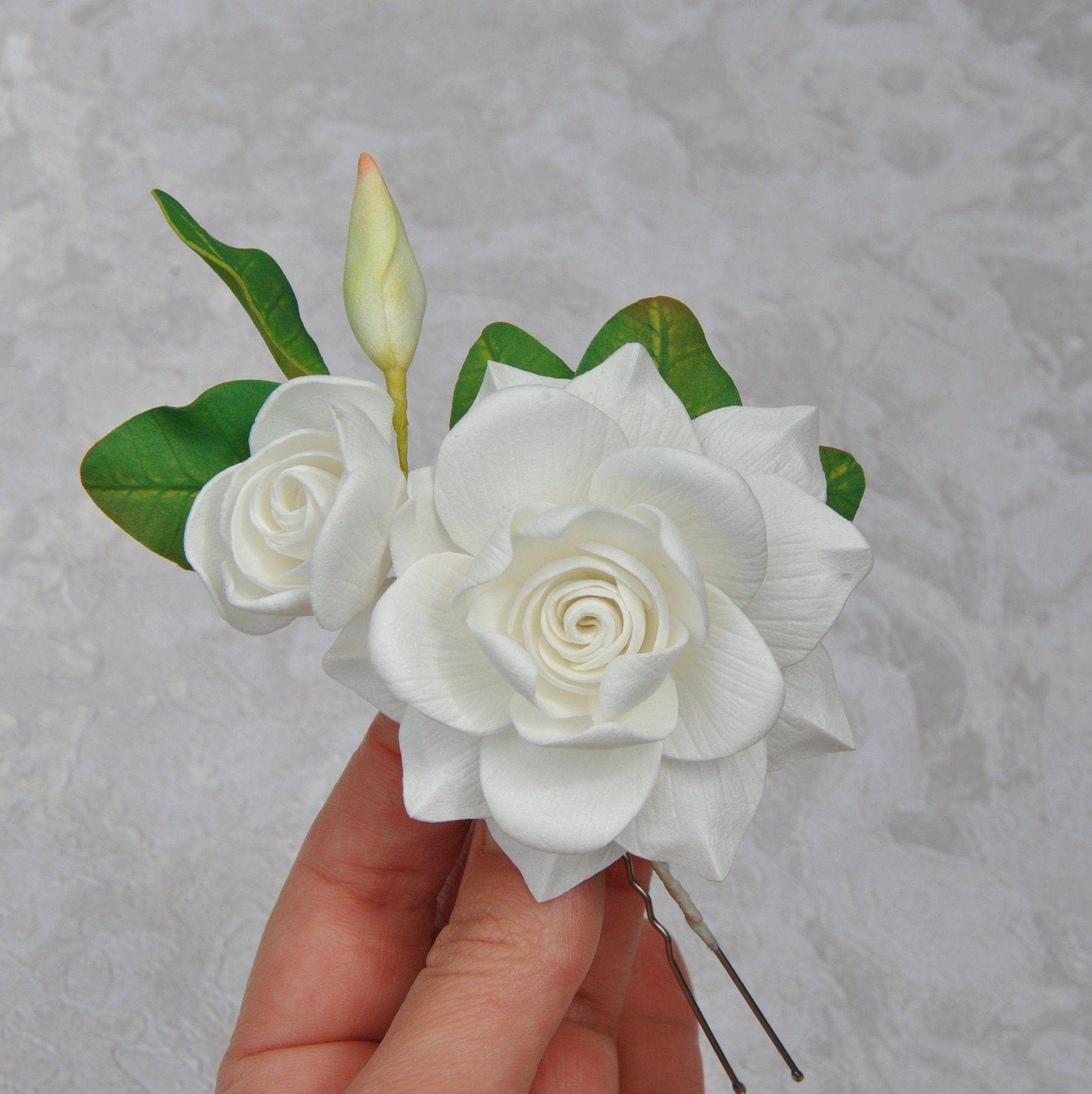 Gardenia Hair Pin Bridal White Gardenia Hair Piece Wedding Etsy In 2020 Flowers In Hair White Hair Flowers Bridal Hair Pins