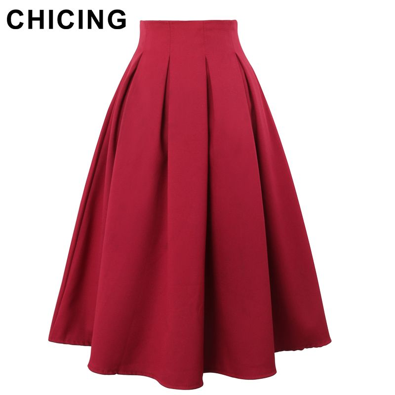 1a721e2e86d CHICING Women Pleated Skirts 2016 Summer Vintage High Waist Knee Length  Office Workwear Flared Tutu Saias Femininas A150114-in Skirts from Women s  Clothing ...