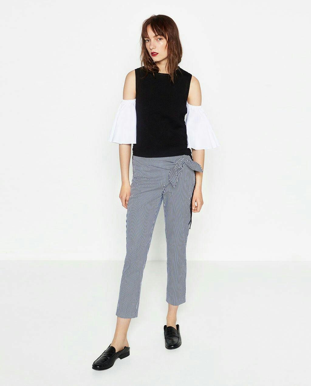 Estilo Promoción De Verano Mujeres Pantalones Personal Unidos A 2016 Rayas Estados Zara Pantalones Popelín Mujer Rayas qwtcx7OA