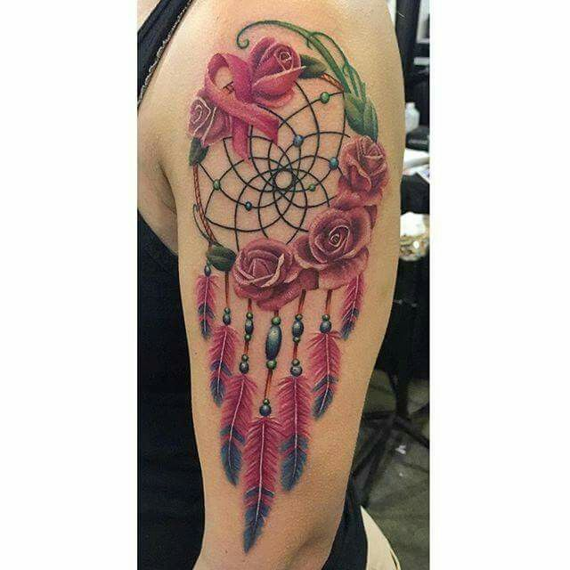 Breast Cancer Dream Catcher Tattoo Dream catcher and breast cancer ribbon I tattooed this weekend at 2