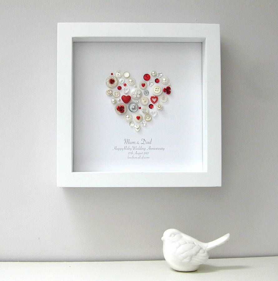 This Personalised Pearl Ruby Anniversary Heart Artwork Makes A Gorgeous Timeless Gift The Recipient Will Treasure