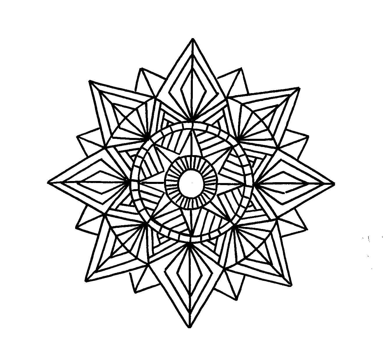 Coloring pages incredible geometric coloring pages for Geometric mandala coloring pages