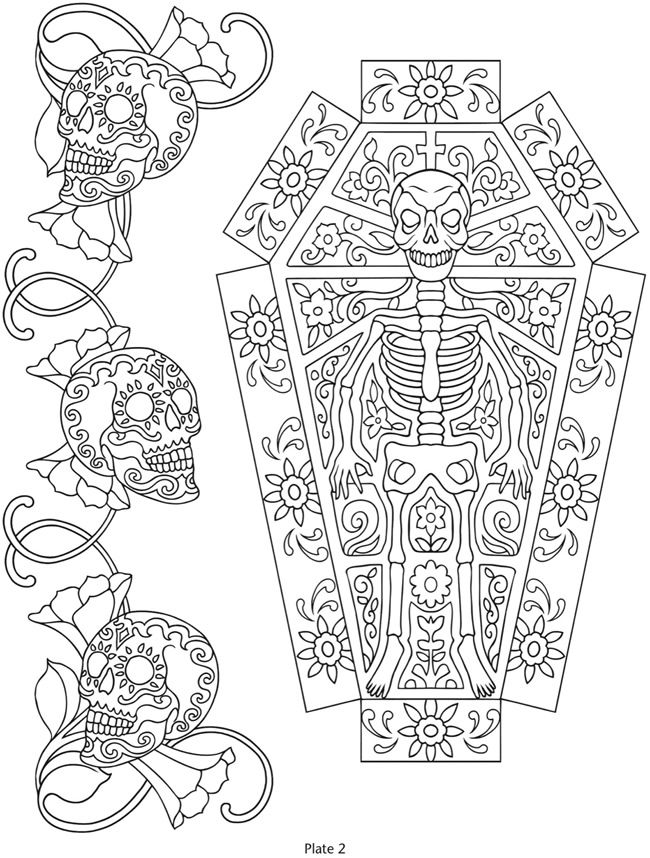 Day of the Dead, dia de los muertos, Sugar Skull, Coloring pages ...