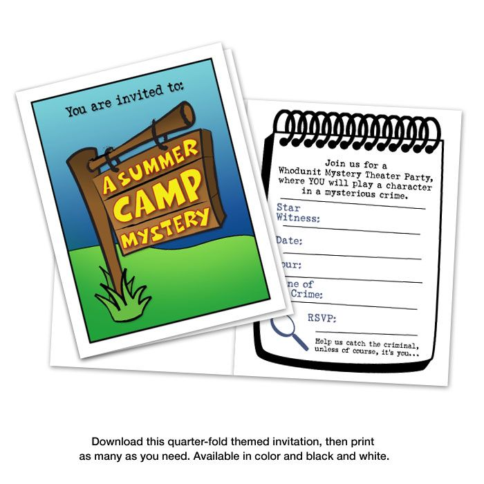 A Summer Camp Mystery Downloadable Game & Party Kit For