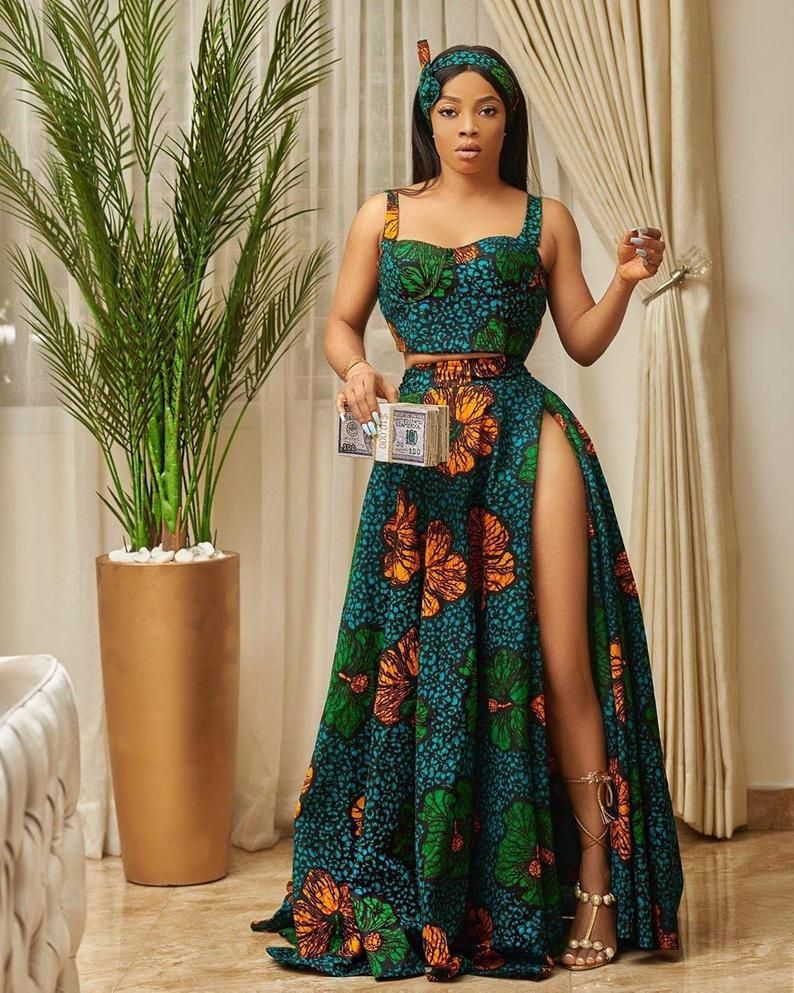 Ankara crop top and infinity skirt with high slit