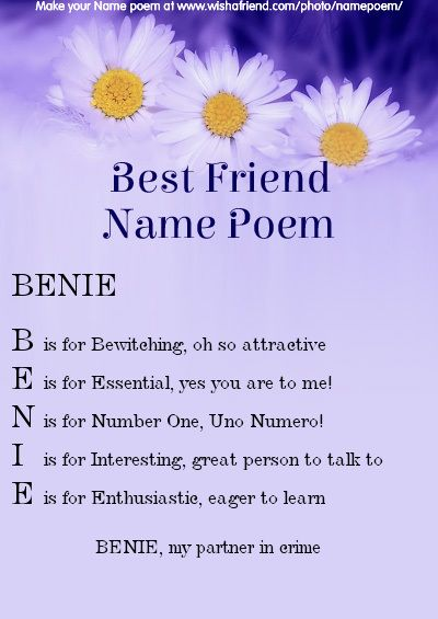 Acrostic Best Friend Name Poem Acrostic Best Friend Poem For Your Name Benie My Partner In Crime Friend Poems Acrostic Poems