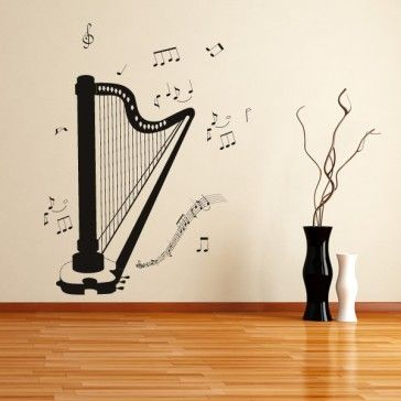 Harp Music Notes Instruments Wall Art Sticker Wall Decal   Musical  Instruments   Music