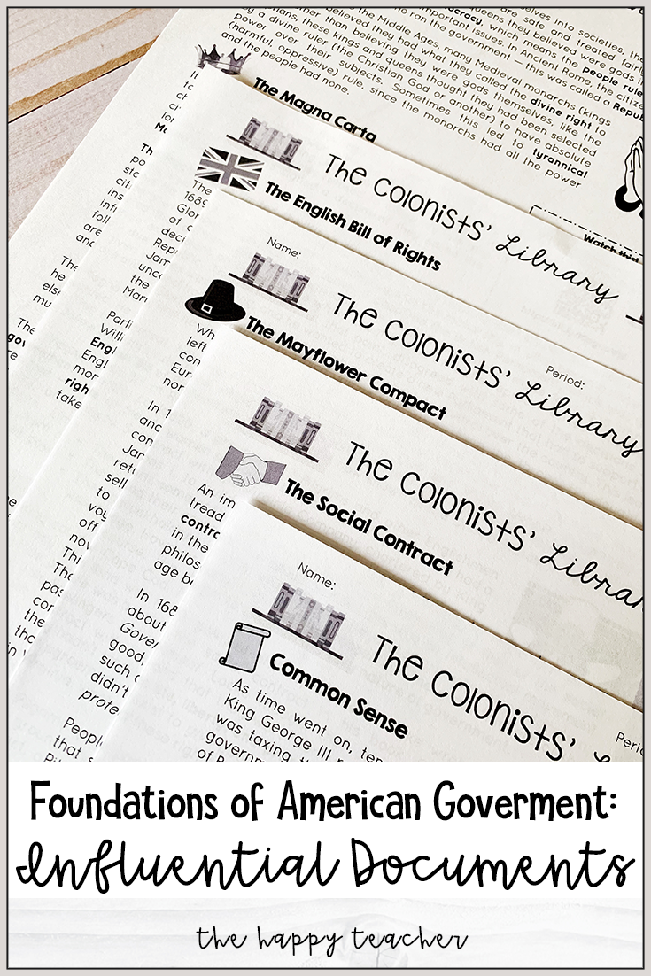 The Colonists Library Foundations Of Government Influential Documents Social Studies Middle School Social Contract Civics Lessons