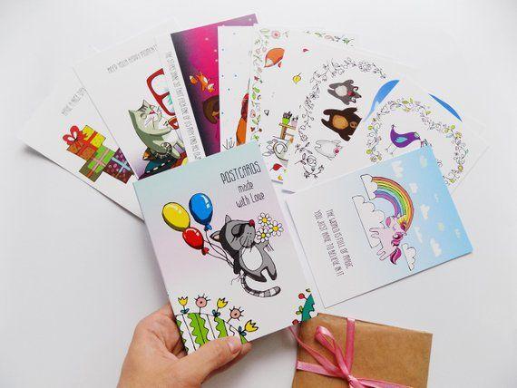 Ready To Ship Cute Postcards Set Illustrations Cat Unicorn Bear Dog