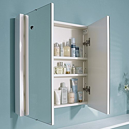 Trueshopping 620mm Gloss White Minimalist Bathroom Mirror Storage Cabinet Unit With 3 I Minimalist Bathroom Mirrors Minimalist Bathroom Bathroom Mirror Storage