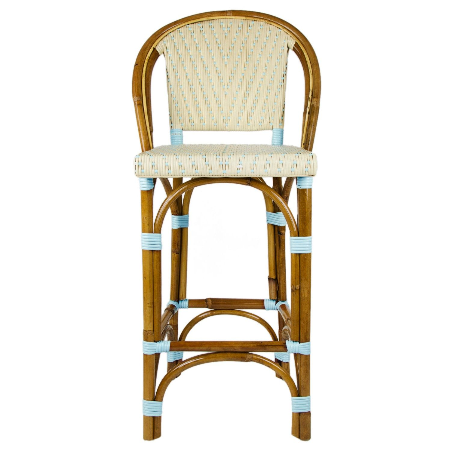 Cream U0026 Light Azure Counter Height Mediterranean Bistro Bar Stool With Back  (26