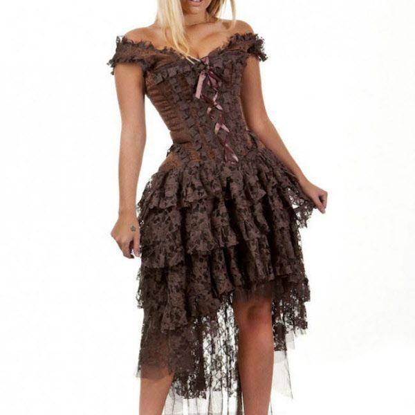 Ophelie Ophelia Kleid Steampunk aus brauner Spitze. Erhältlich bei ...
