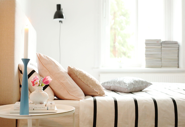 schlafzimmer bett deko applicata skandinavisch wohnen
