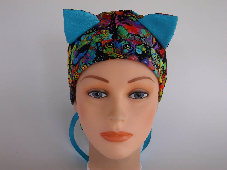 abadaa1ca92 Meow Wow Cat Ears - Womens lined surgical scrub cap