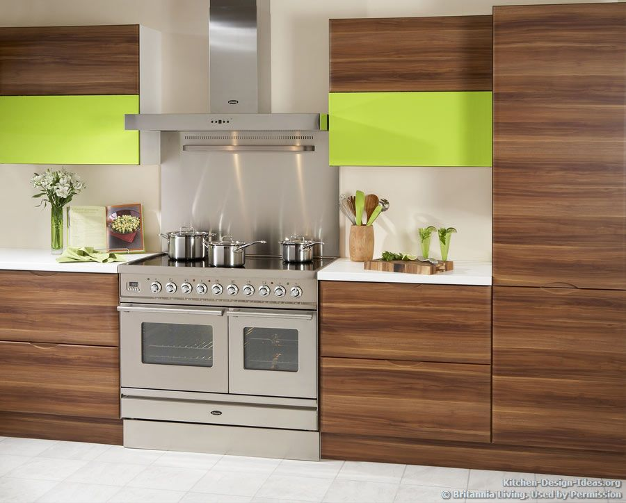 Exotic wood cabinets with horizontal grain for Modern wood kitchen cabinets