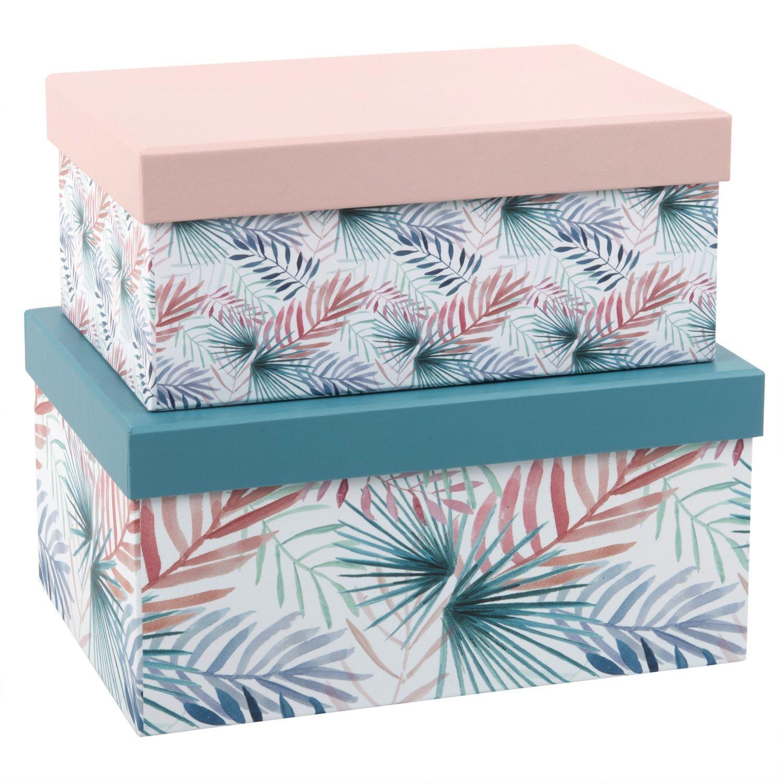Rangements Deco Boite En Carton Mobilier De Salon Feuilles Tropicales