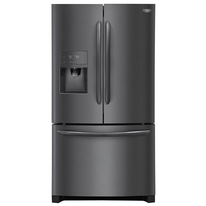 Frigidaire Refrigerator With Water Ice Dispenser 27 Cu Ft Black Steel Fghb2868td Rona Frigidaire Gallery French Door Refrigerator French Doors
