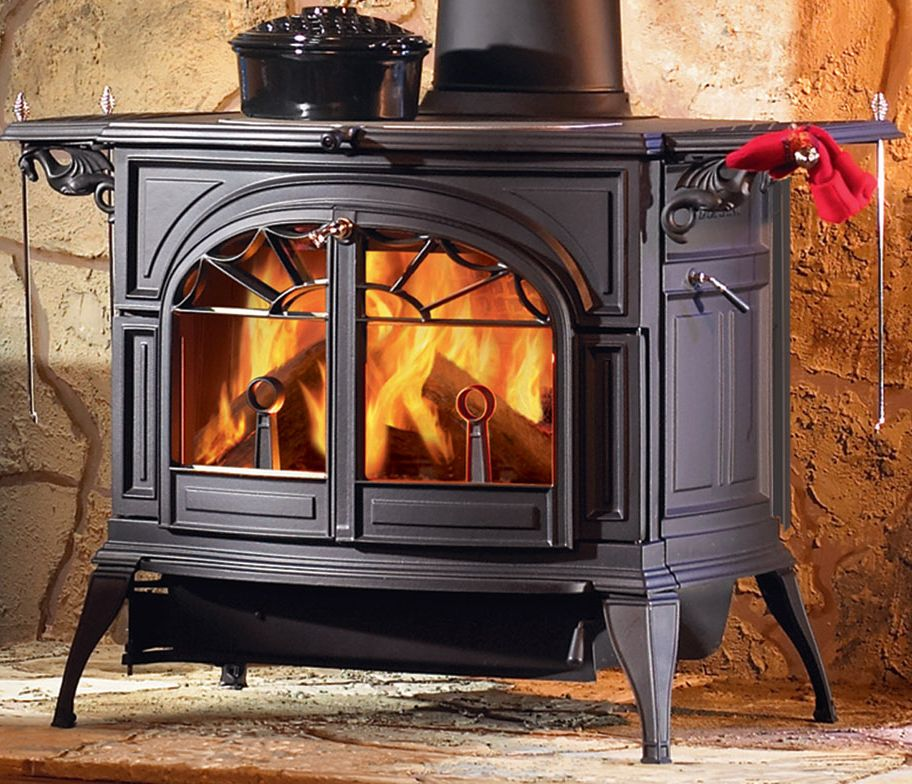 Large Vermont Castings Wood Stove With Warming Shelves