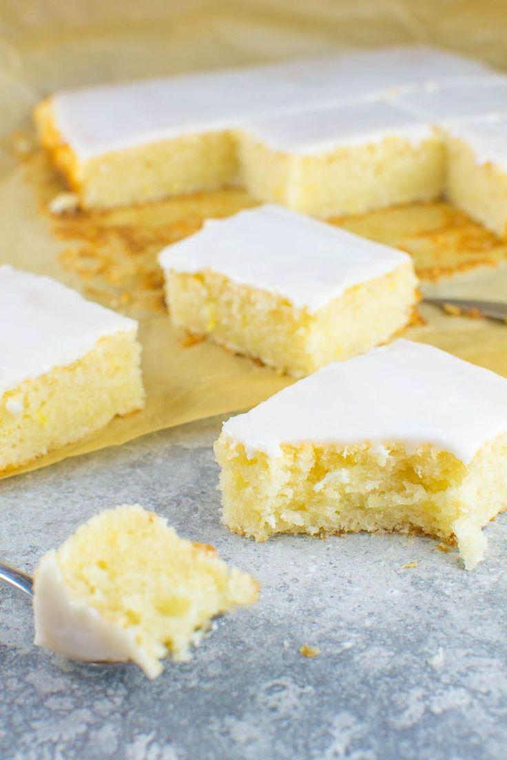 Einfacher Zitronen-Blechkuchen mit Zuckerguss {vegan}(Vegan Cake) -  Backen Infinity -