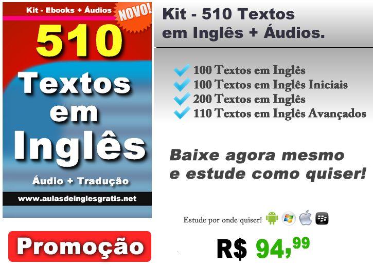 Kit Textos 510 Textos Em Ingles Pdfs Mais Audio Mp3 Aulas De