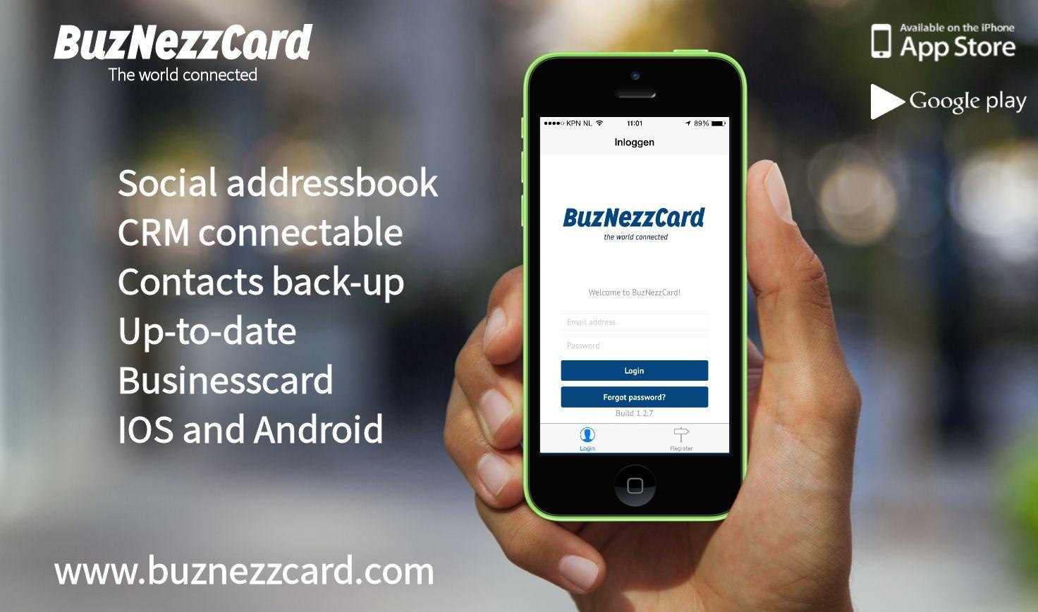 Buznezzcard login screen mockup  www.buznezzcard.com  #Buznezzcard #businesscard #visitekaartje #addressbook