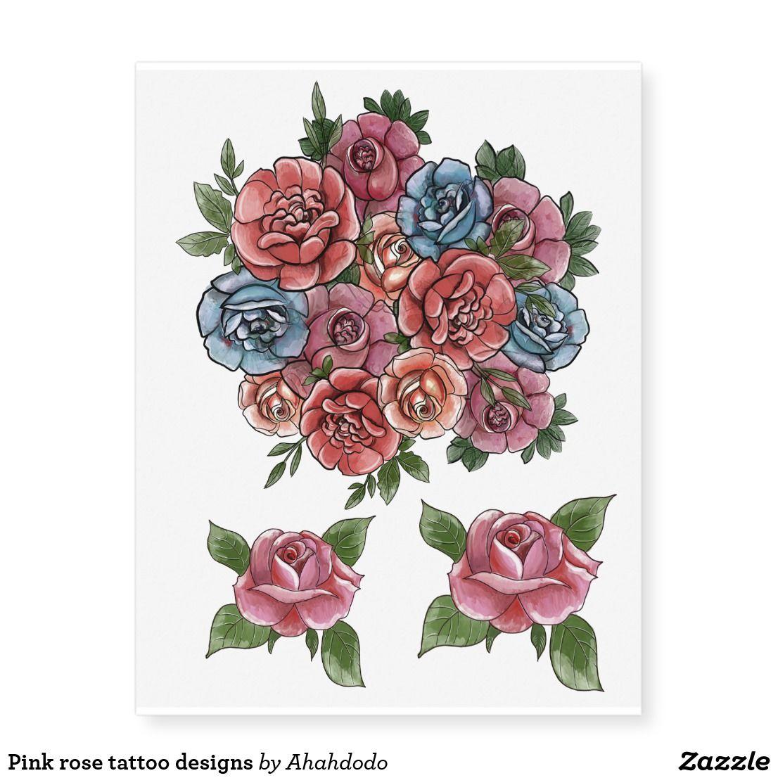 Red blue roses body art temporary tattoos   Zazzle.com
