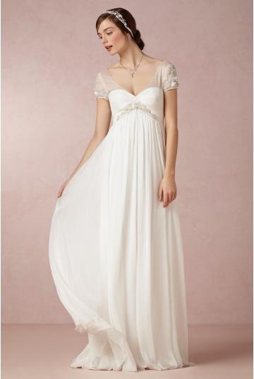 Schlichte Bodenlange Hochzeitskleider aus Chiffon | Brautkleider ...