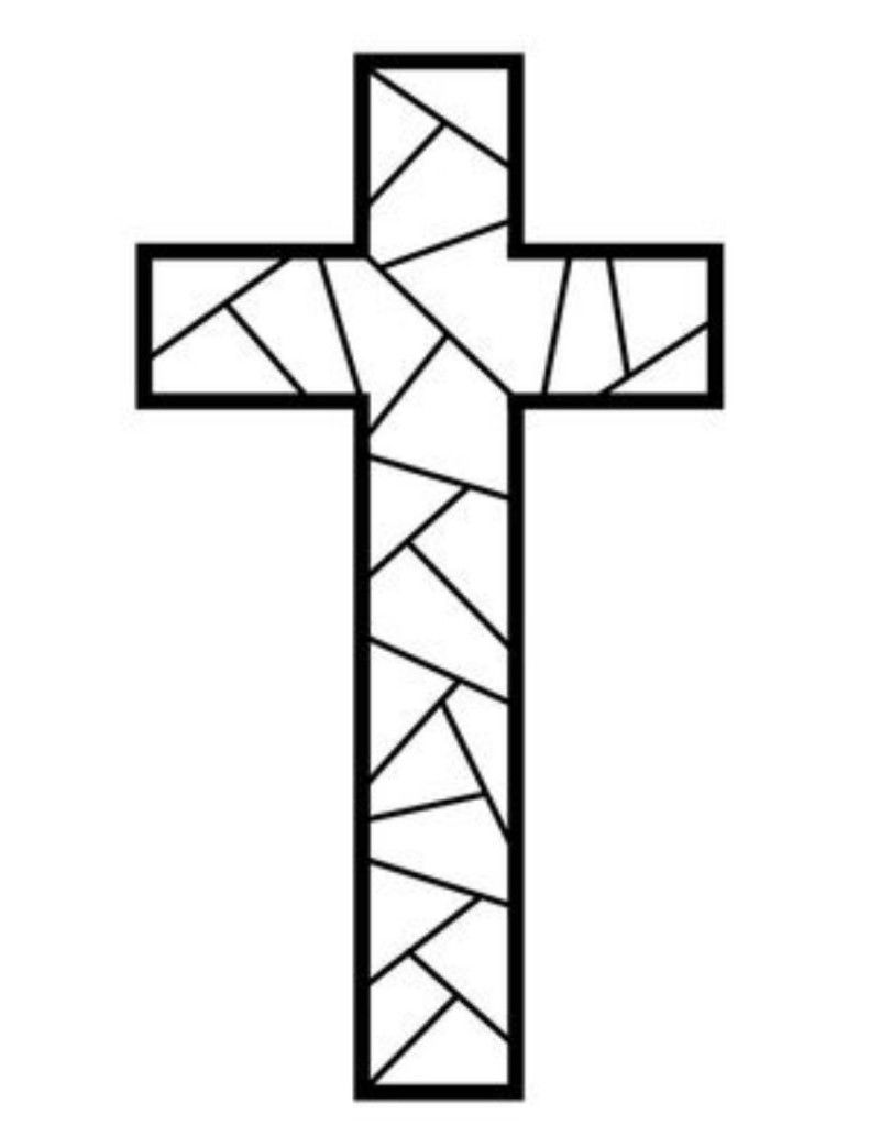Cross Coloring Page : cross, coloring, Printable, Cross, Coloring, Pages, Page,, Stain, Glass, Cross,, Mosaic, Patterns
