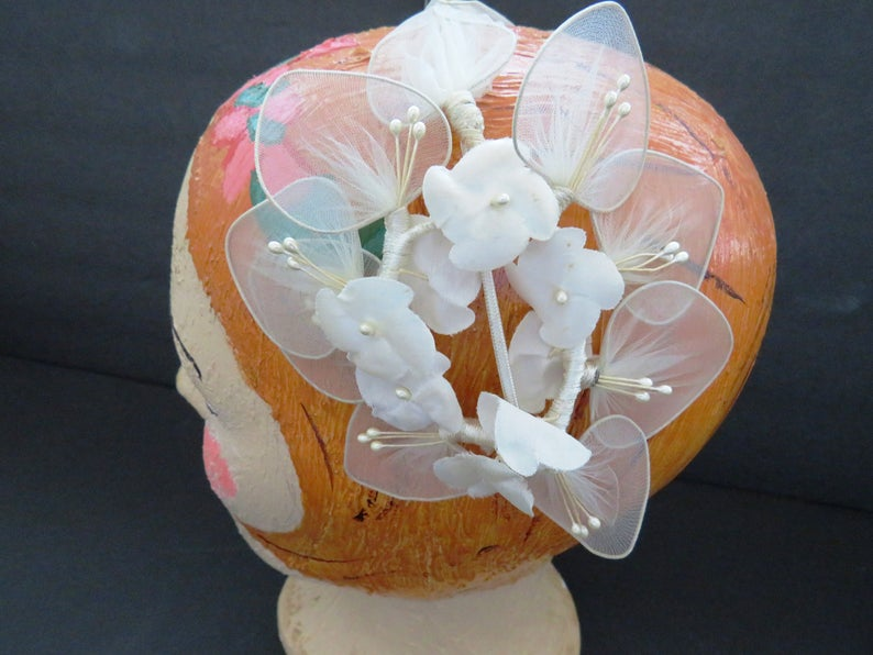 Vintage 1960s Creamy White Half Hat - White Fascinator Headband Hat Seed Pearls - Church Wedding Hat Cap - Millinery Show Girl Costume