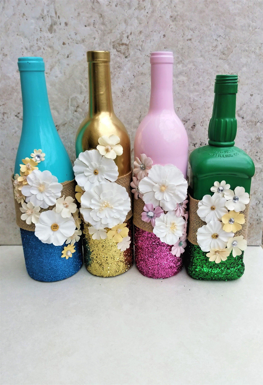 Centerpiece With Flowers Spring Wine Bottles Flower Decor Wine