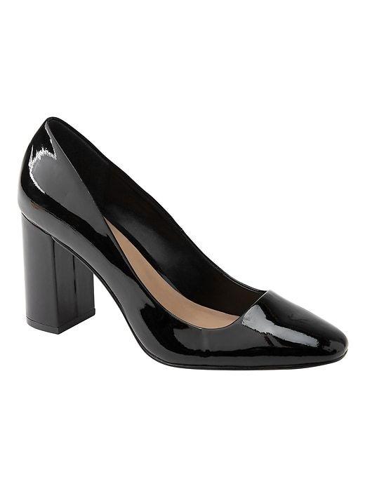 2e7d47ad228cc Banana Republic Womens Square Toe Block-Heel Pump Black Patent Leather