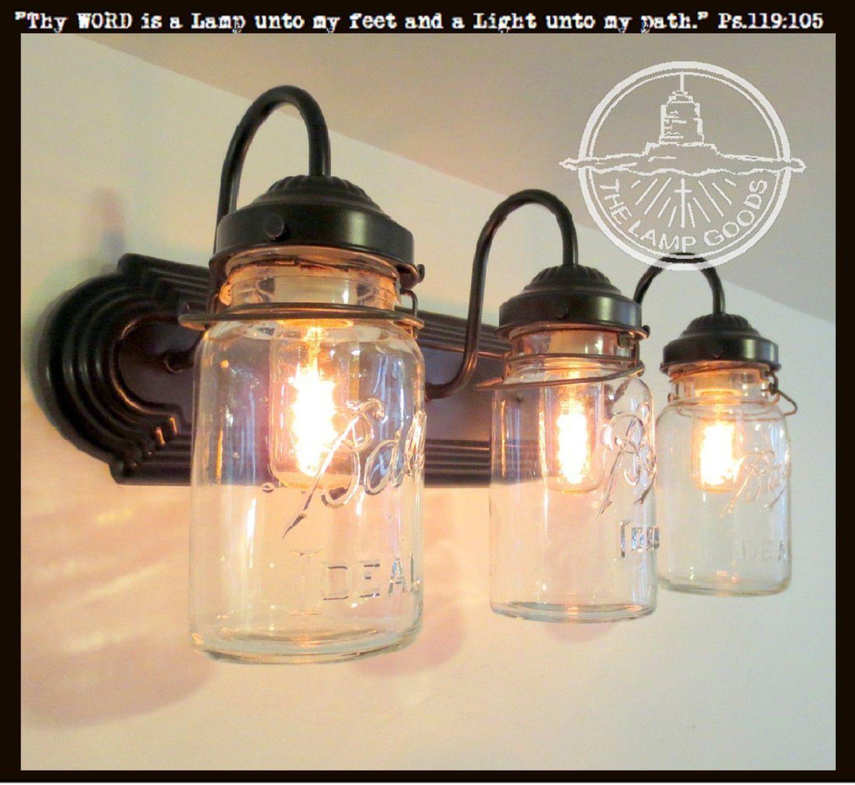 Rustic Mason Jar Bathroom Light Vintage Quart Trio Mason Jar