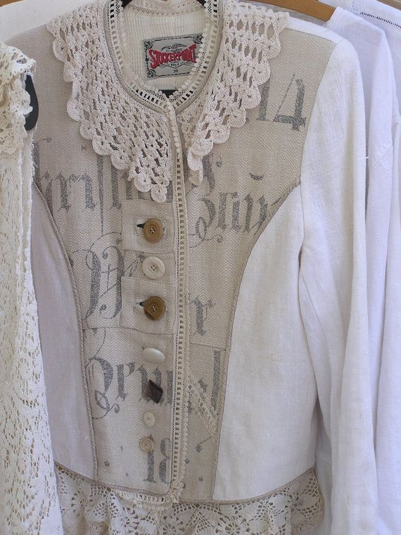 Linen Jacket Womens Upcycled Linen Jacket Antique By
