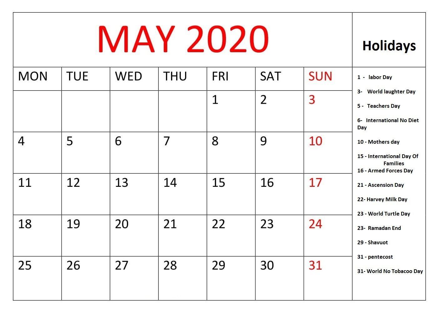 May 2020 Holidays Calendar Usa Uk Canada India Australia In