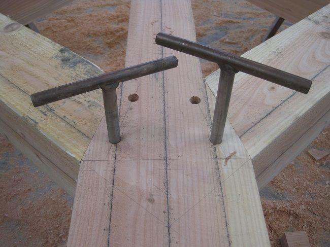 timberframe castle ring oak frame use of podgers