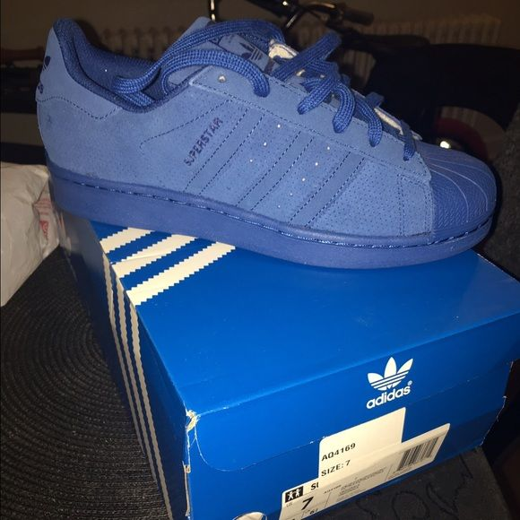 new style 1995b 955b6 Superstar original adidas NO TRADES PRICE FIRM Royal blue size 7 kids  Superstar adidas suede like material   leather Adidas Shoes Sneakers