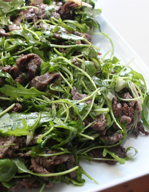 Flank Steak Salad Recipe -- really simple ingredients, and it tastes SO fancy.
