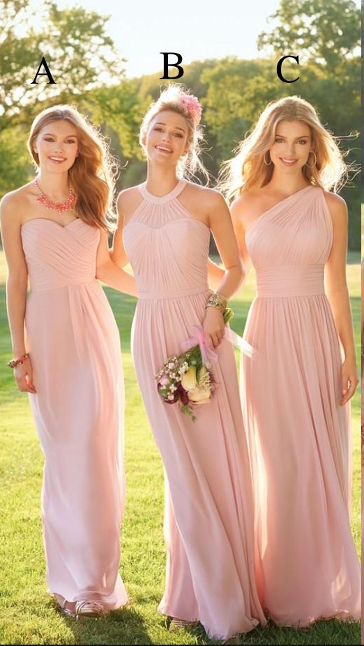 Pastel Pink Cheap Long Lace Chiffon Bridesmaid Dresses Mixed Style Blush Bridesmaid Formal Prom Party Dress With Ruffles Custom Made