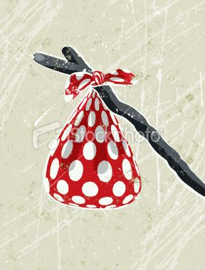 Red And White Spotted Hanky Tied To A Stick Stock Illustration