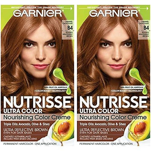 Nutrisse Ultra Color Nourishing Permanent Hair Color Cream, B4 Caramel Chocolate 2 Count Brown Hair Dye Gallery