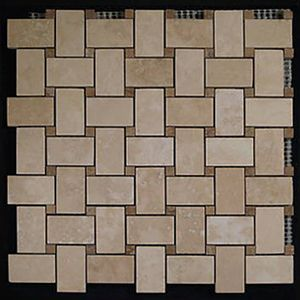 Classic Ivory Travertine Basketweave Mosaic Tile With Noce