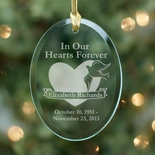 """Glass personalized ornament that says """"In our Hearts ..."""