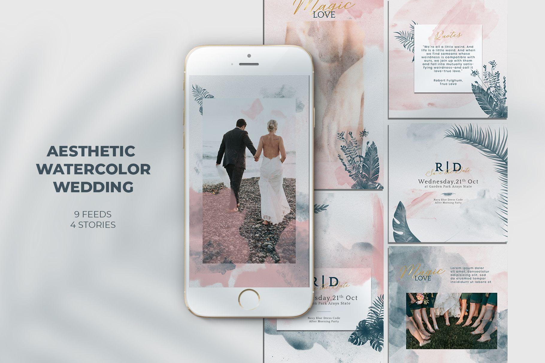 Aesthetic Watercolor Wedding Instagram Templates