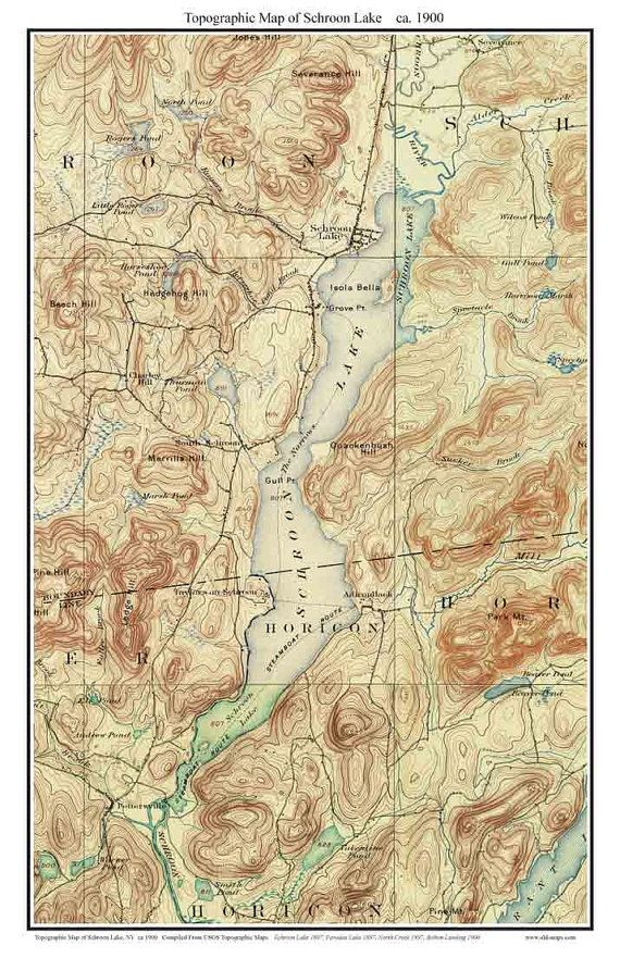 Schroon Lake ca 1900 USGS Old Topographical Map Custom Composite ...