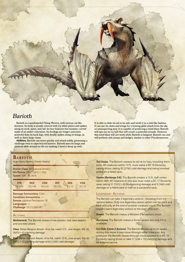 A little one trick, even with the legendary actions (which in general I am not a fan of below 18th or so level.) But I'm a sucker for good creature art, regardless of where its nabbed from. And who doesn't like fighting something with fangs as big an ogre's junk. DnD Creature Homebrew Monster Stats