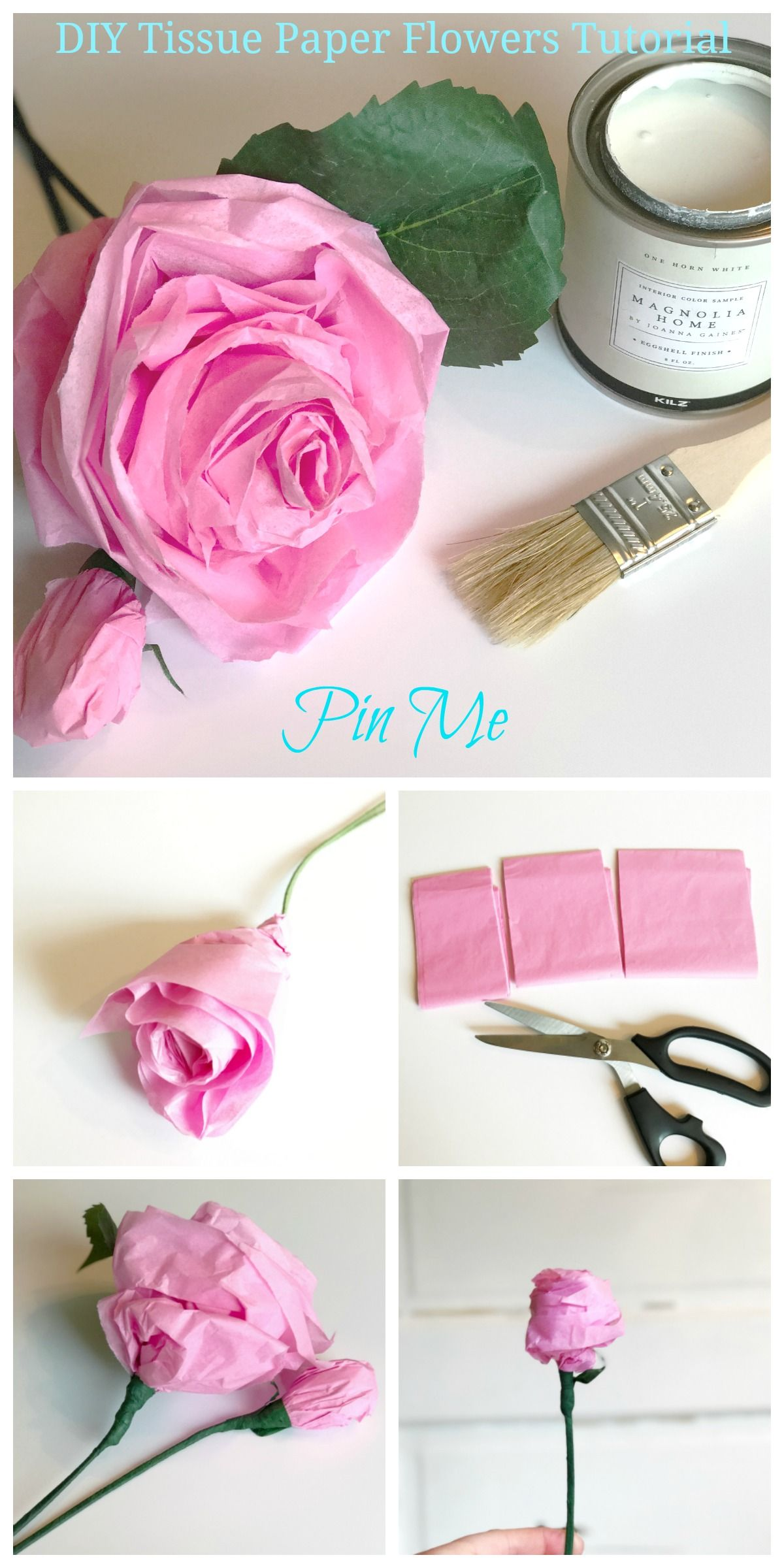 DIY Tissue Paper Flowers Tutorial | Tissue paper flowers, Tissue ...
