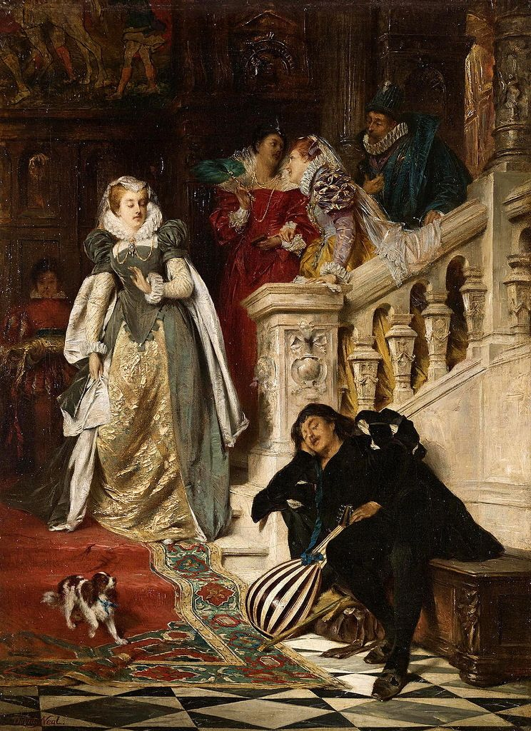 David Dalhoff Neal American 1838 1915 The First Meeting Of Mary Stuart And Rizzio Luit Schilderij Trappen