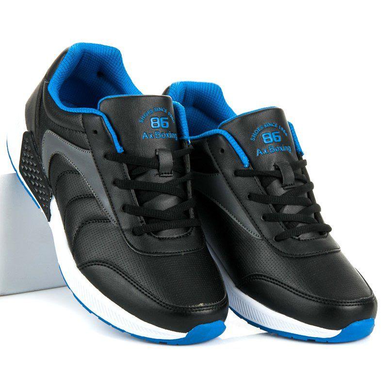 Sportowe Meskie Axboxing Czarne Wiazane Buty Meskie Ax Boxing Sneakers Shoes Fashion